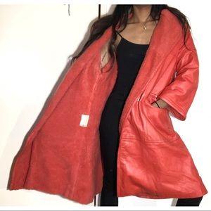 Jackets & Blazers - Orange leather/fur combo winter trench
